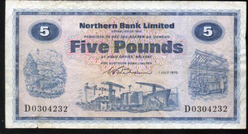 Northern Bank Ltd Belfast £5 five pound banknote 1970 1976 1982 real money