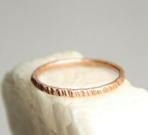 Copper-Ring-Stackable-Hammered-Rings-band-Size-12-Wedding-Promise-Ring-Unisex