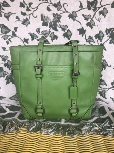 Coach Lime Green Leather Tote Bag Purse