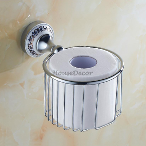 Bathroom Wall Mounted Toilet Paper Tissue Roll Holder Chrome Storage