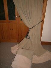 "Huge Bespoke Velvet Curtains.Stone.90""Dr - 320""Wide. Blackout.*CLEANED* Free P&P"