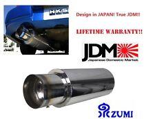 """IZUMI JDM  4"""" Stainless Steel Burnt Tip Muffler Exhaust Silencer 2.5"""" INLET N1"""
