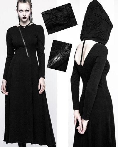 Kapuzen Rückenfrei Kleid lang Gothic Punk Lolita Sexy Hexe Stickerei PunkRave