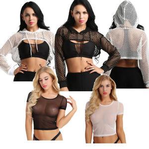 Sexy-Women-Mesh-Vest-Crop-Top-Blouse-Sport-Hood-Cami-Tank-Tops-Fishnet-T-Shirt