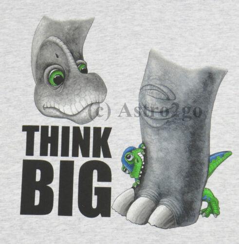 S L M THINK BIG--Dinosaur Science Fun Humor Kids T shirt Youth sizes XS