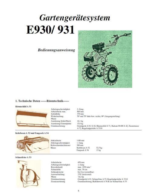 Bedienungsanweisung Anleitung Fortschritt E 930 E930 E931 E 931 DDR Einachser