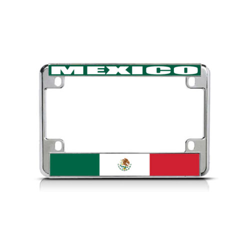 MEXICO Flag Metal Motorcycle Bike License Plate Frame Tag Border
