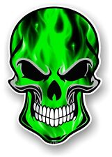 GOTHIC Biker SKULL & Electric GREEN Flames Motif vinyl car bike sticker Decal