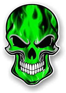 30cm-Gothique-MOTARD-SKULL-amp-Vert-electrique-flammes-motif-auto-moto-autocollant