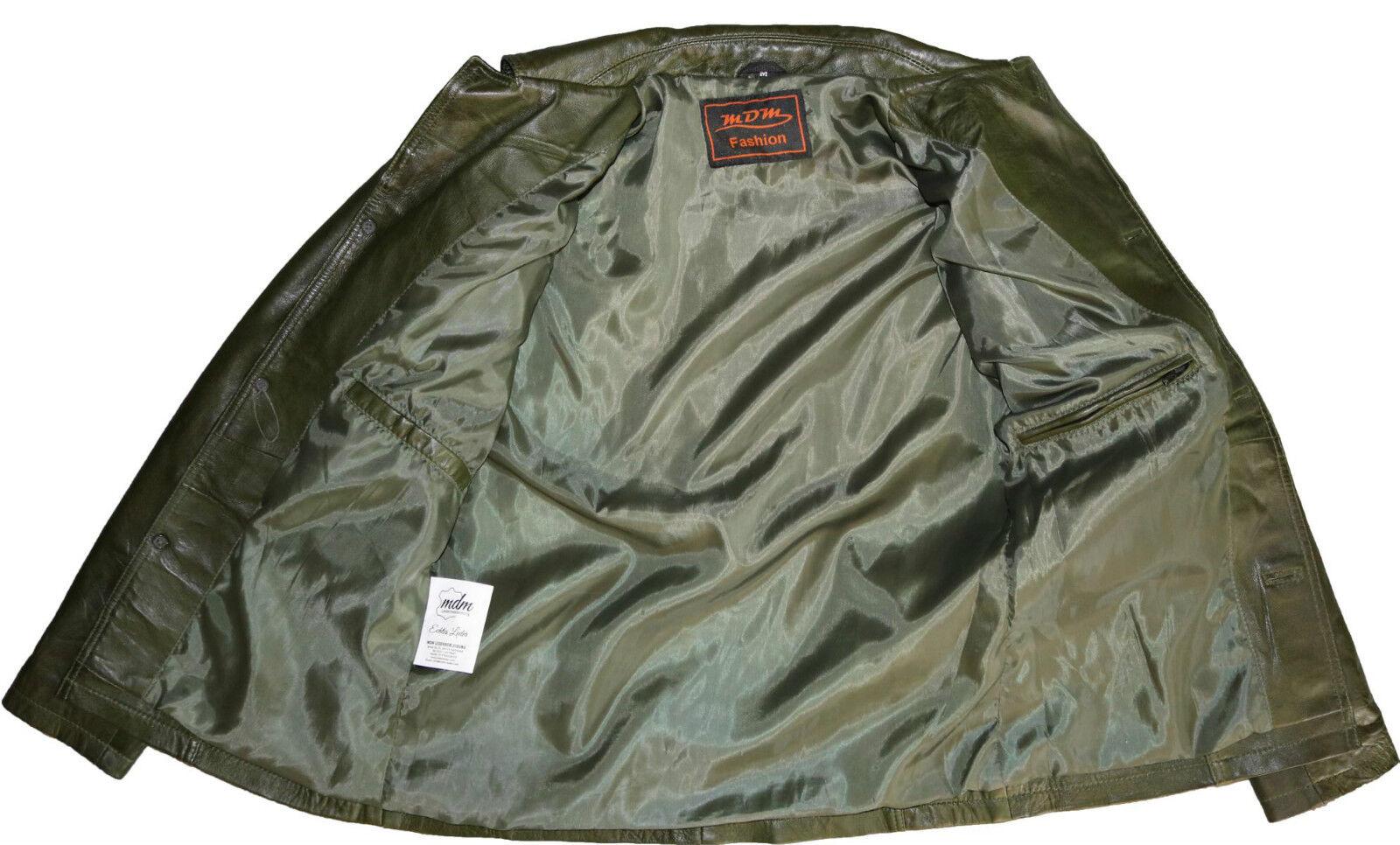 Blazer da Uomo di in morbida pelle di Uomo agnello, taglio sciancrato, Verde Giacca Cappotto 4ca322