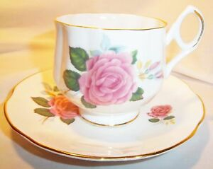 ROYAL-DOVER-CHINA-ENGLAND-PINK-ROSE-CUP-AND-SAUCER-WITH-GOLD-TRIM
