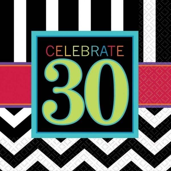CELEBRATE Age 16 LUNCHEON NAPKINS {Amscan} (Birthday/Party/Chevron)