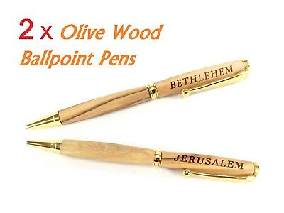 Antique Brass Pen Hand Craft Olive Wood Twist From Bethlahem Holy Land Exclusive