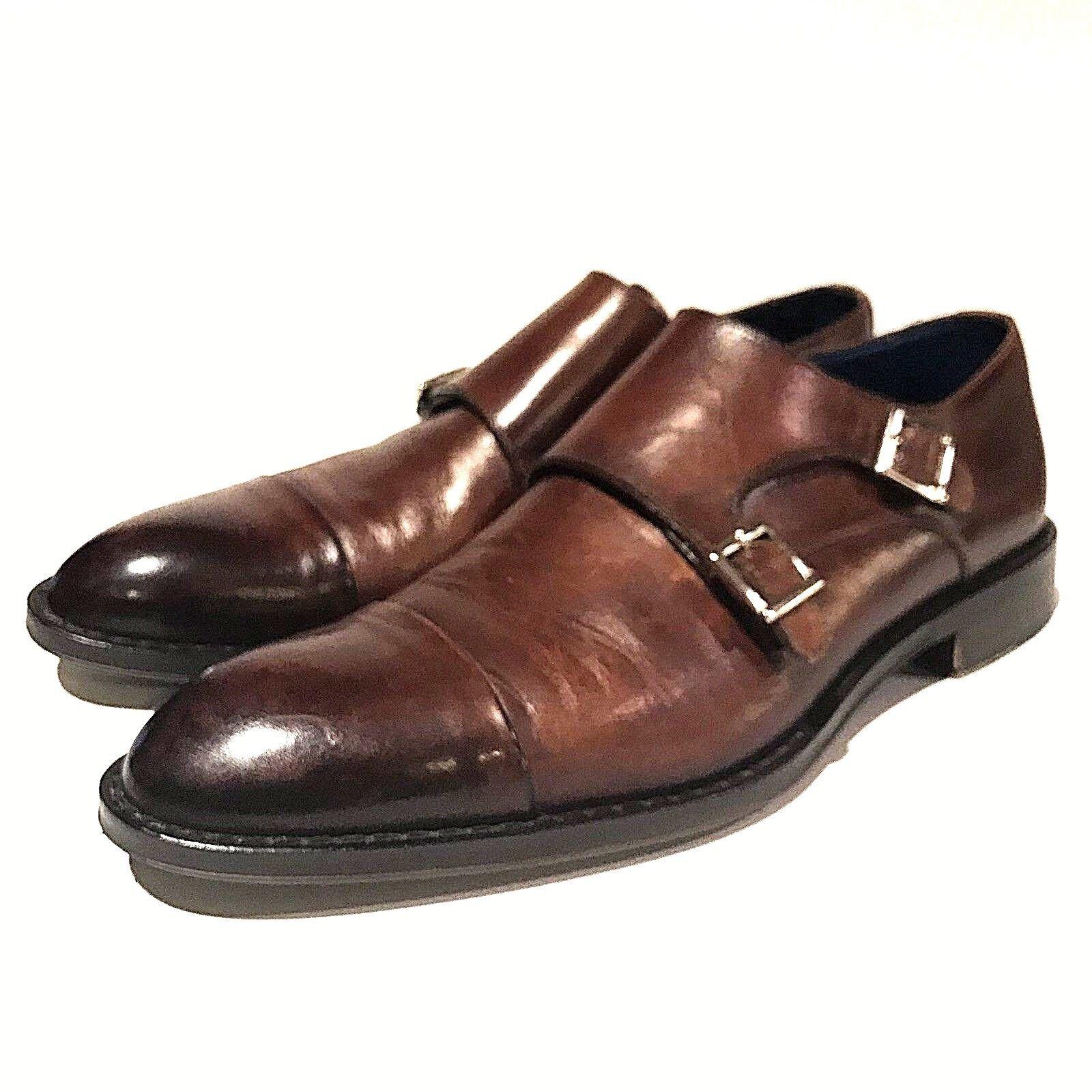design unico Peter Millar Loafers Marrone Leather Uomo Uomo Uomo Dimensione 8.5 Monk Strap  più sconto