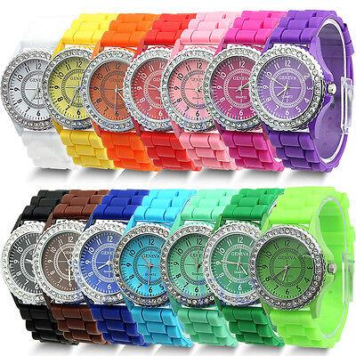 Geneva Fashion Crystal Jelly Gel Silicon Girl Women's Quartz Wrist Watch
