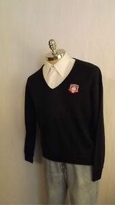 Vtg-1970-039-s-034-Champion-034-Baseball-Hall-of-Fame-V-neck-Sweater-sz-L-Cooperstown-MLB
