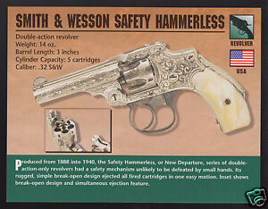 Details about SMITH & WESSON SAFETY HAMMERLESS  32 Revolver Gun Classic  Firearms PHOTO CARD