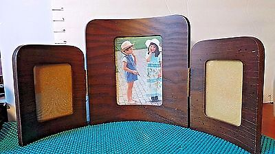 Wooden Picture Frame, Hinged, Sturdy, 3 Photos, Collectible Home Decor,