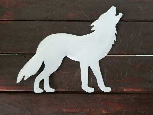 Howling Wolf Pearl White finished metal wall art wildlife country cabin