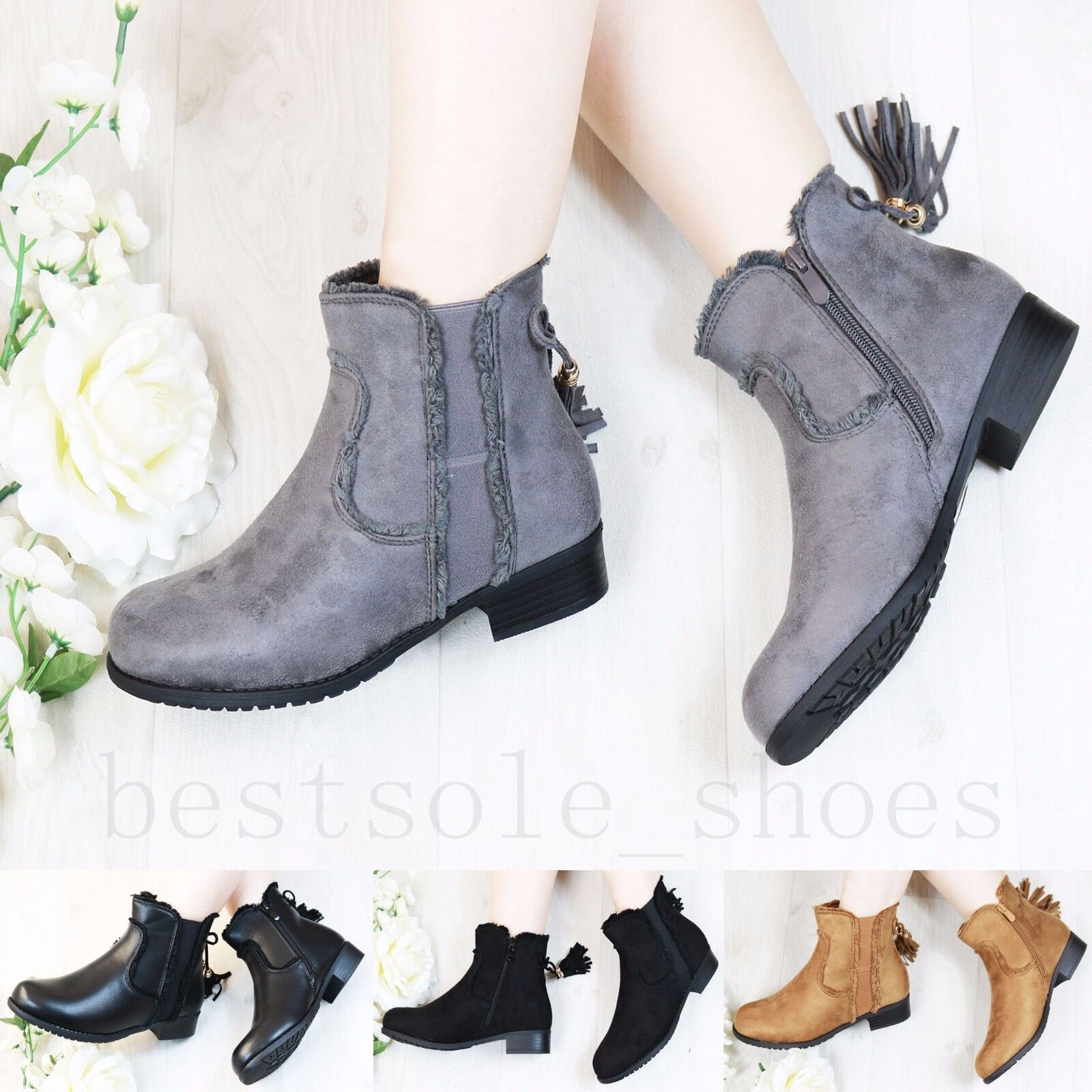 Ladies Womens Zipped Chelsea Ankle Boots Low Block Heel Tassel Shoes Size Uk 3-8