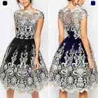 Elegant Vintage Women Lace Short Sleeve Evening Cocktail Party Formal Mini Dress