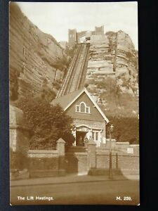 East-Sussex-HASTINGS-The-East-Hill-Lift-Old-RP-Postcard-M-259