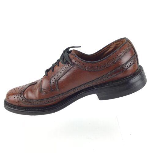 1cefb43a2e92 ... JC PENNY Shoe Classic Brown Leather Wingtip Brogue Oxford Mens 7.5 D  Shoes R8S3