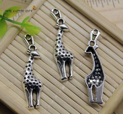 20pcs Retro Jewelry Making Mignon Girafe Alliage Charme Pendentifs À faire soi-même 40x11mm