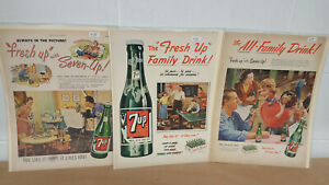 Original-1948-53-Three-Vintage-Seven-Up-Magazine-Ads