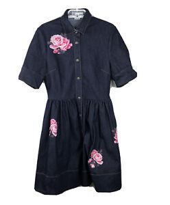 Kate-Spade-Women-039-s-Floral-Denim-Shirtdress-Jean-Dress-Sz-6-New