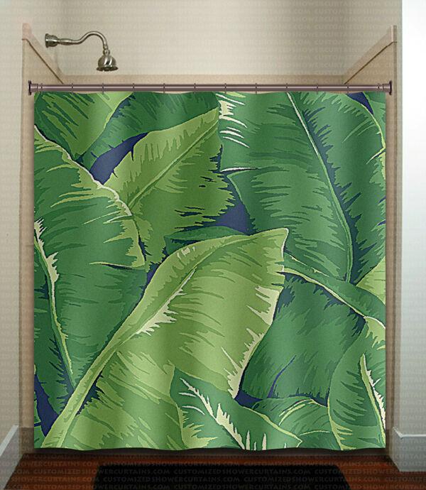 Feierman Pink Flamingo Shower Curtain Art Decor Green Tropical Jungle Bathroom For Sale Online Ebay