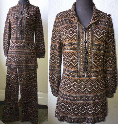 60's Vtg. Amazing Graphic Knit Tunic & Pant 2pc. C