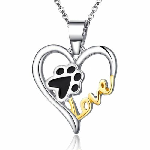 *UK* 925 SILVER PLT LOVE PAW PRINT HEART ENGRAVED NECKLACE ADOPT DOG CAT PUPPY