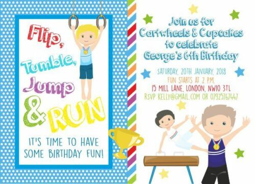 10 x Personalised Gymnastics Birthday Party Invitations or Thank you cards