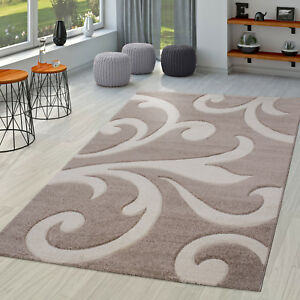 Wohnzimmer-Teppich-Ranken-Muster-Konturenschnitt-in-Beige-Creme