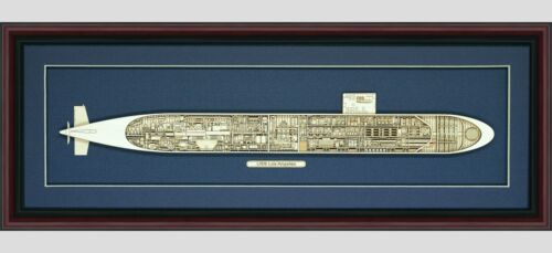Wood Cutaway Model of Submarine USS Los Angeles (SSN-688) - Made in the USA