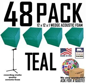48-pack-TEAL-Acoustic-Wedge-Studio-Soundproofing-Foam-Wall-Tiles-12x12x1-inch