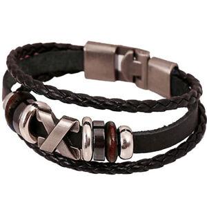Bracciale-X-Style-braccialetto-maschile-ecopelle-lega-polso-accessori-uomo-stile