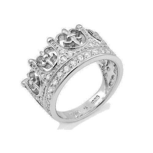 Argent Sterling 925 Designer Women/'s CZ Flur DE LIS CROWN interminable Voyage Ring