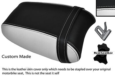 BLACK & WHITE CUSTOM FITS TRIUMPH THUNDERBIRD 1700 1600 REAR LEATHER SEAT COVER