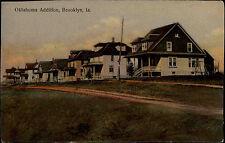 Brooklyn Iowa USA vintage postcard ~1920/30 Oklahoma Addition Houses street view