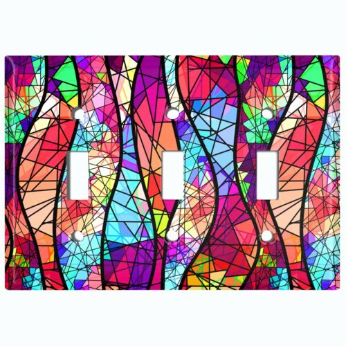 Metal Light Switch Cover Wall Plate Colorful Stained Glass GLA003