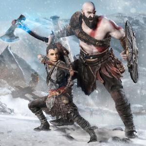 IRON-STUDIOS-God-of-War-Kratos-and-Atreus-Tenth-1-10-Scale-Figure-set-Statue-NEW