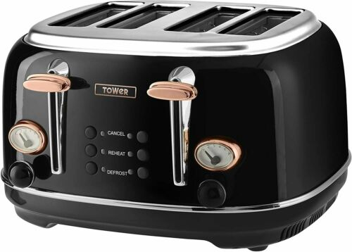 Rose-Gold Tower Set Microwave Jug Kettle 4-Slice Toaster and Slow Cooker - Black