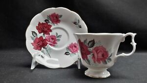 Royal-Albert-England-Bone-China-Floral-Red-amp-Pink-Roses-Cup-amp-Saucer