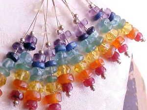 Chakra-Earrings-Gemstone-Rainbow-Sterling-Silver-Yoga-Meditation-Energy-Handmade