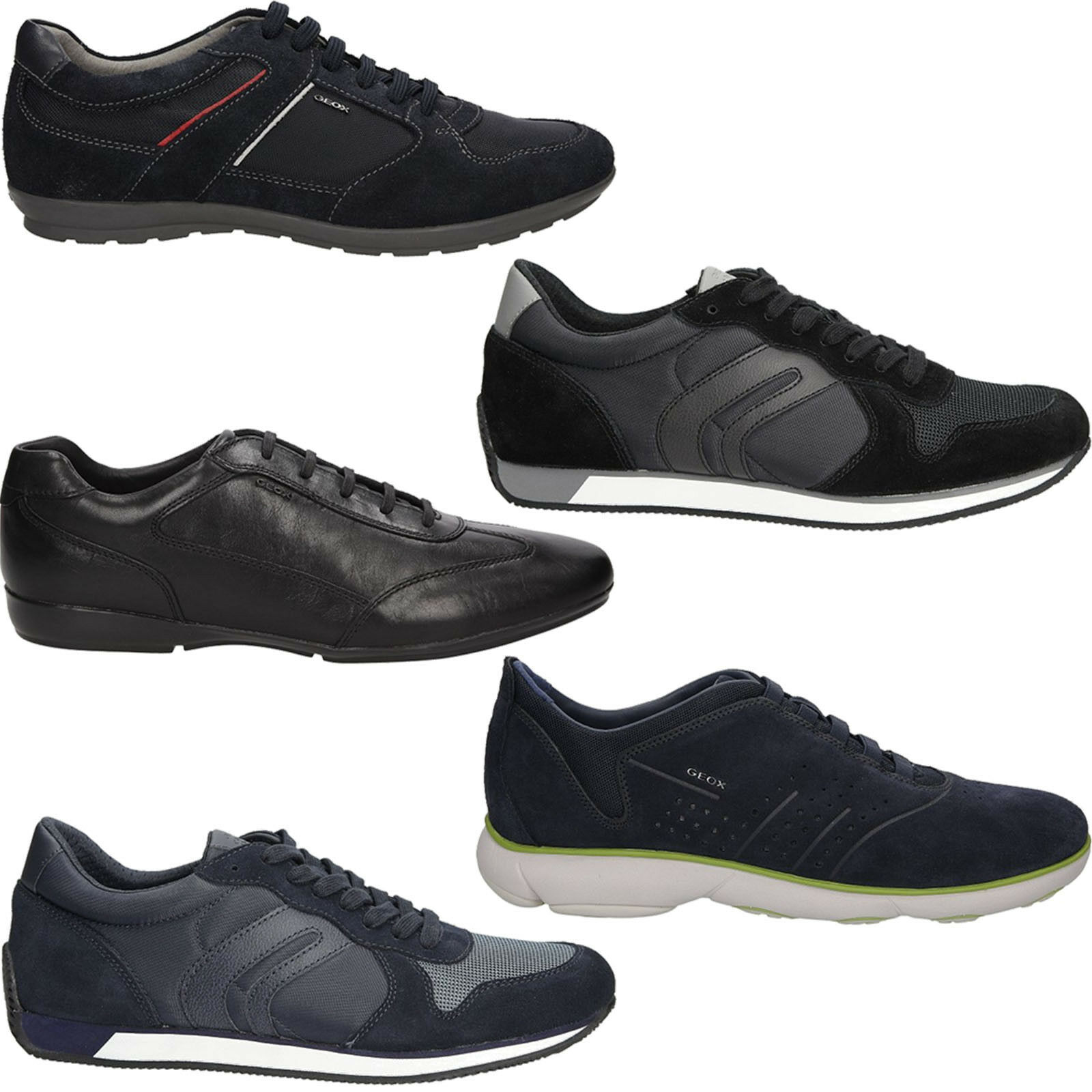 Hommes Chaussures De Sport GEOX Chaussures Chaussure Lacée Plat Confortable Taille 40-46 Neuf