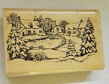 Wood Backed Rubber Stamp Christmas Village Scene Trees Snow Church Cottages