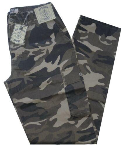 Pantalone uomo taglia M L XL XXL XXXL tasconi mimetico verde SEA BARRIER isimo