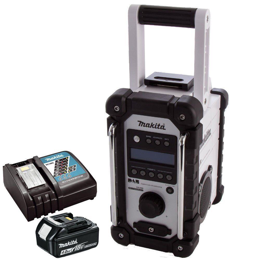 Makita DMR109W DAB 10.8v-18v LXT Job Site Radio With 1 x 4.0Ah Battery & Charger